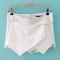 Asymmetrical Wrap Mini Skirt Shorts