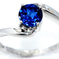 1 Carat Blue Sapphire Round Ring .925 Sterling Silver Rhodium Finish White Gold Quality