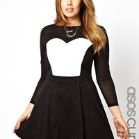 ASOS Curve   ASOS CURVE Exclusive Skater Dress With Mesh & Leather Look at ASOS