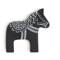 Dala Horse ornament in black with white hand painted designs Scandinavian wood Christmas ornament