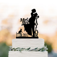 Personalized Wedding Cake topper with cat, mr and mrs, date, bride and groom silhouette , custom name cake topper for wedding