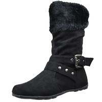 Kids Mid Calf Boots Fur Cuff and Studded Strap Casual Comfort Shoes Black SZ