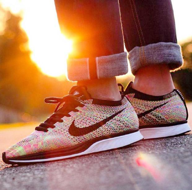 Image of NIKE Trending Women Men Fashion Casual Running Sports Shoes Rainbow Rose red knit Sneakers Yellow