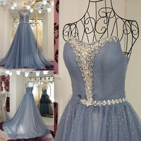 Dusty Blue Prom Gowns 2017 Luxury Rhinestones Crystals Tulle Elegant Prom Dresses Floor Length Cheap Graduation Dresses