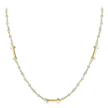 """CHG-203-RM-18"""" 18K Gold Overlay Necklace With Rainbow Moonstone"""
