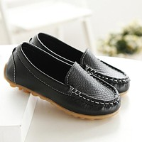 New Fashion Kids shoes all Size 21- 30 Children PU Leather Sneakers For Baby shoes Boys/Girls Boat Shoes Slip On Soft 5 color