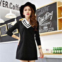 Japanese sweet v-neck long-sleeved dress