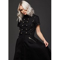 Black Studded High Low Gothic Dress with Buckles and Corset Lacing