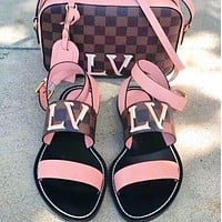 LV Shoes Louis Vuitton Sandals Flat Shoes Tartan print Letters  Shoes Pink