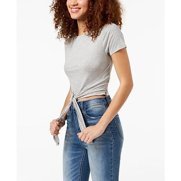 Material Girl Active Juniors'  Tie-Front Cropped T-Shirt,