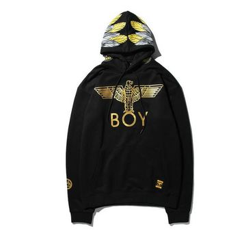 Newest autumn winter lon don boy Fashion Eagle wings bronzing hoodies kanye west hip hop lovers clothing