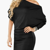 Half Shoulder Cut-Out Sleeve Blouson Mini Dress