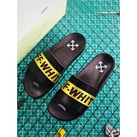 OFF White Black/Yellow Sandals