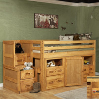 Chelsea Home Twin Junior Loft Bed w/ Storage and Stairway Chest in Cinnamon