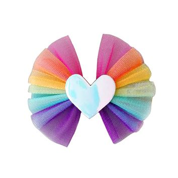 Tulle Heart Hair Bow