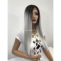 Silver ombre lace front wig - In My Hand 218 4*