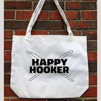 tote bag. Happy Hooker. Cotton Tote. grocery bag. Natural. Market.Organic.reusable. Knitter. Knitting needles. Yarn. Knit Tote. Eco friendly