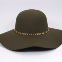 Olive Green Floppy Hat with Gold Chain