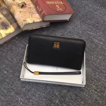 GIVENCHY MEN'S LEATHER ZIPPER WALLET