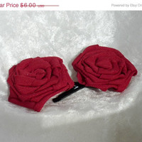 On Sale Red Red Rose Hair Pins, flower hair pins, handmade, red hair pin, womens hair pin,