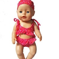 Swimming Pool beach Red bikini set with swim cap set for zapf baby doll summer set also suit for 18 inch 45cm dollSwimming Pool beach KO_14_1