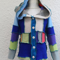 Patchwork Child's Sweater made from Upcycled Cashmere and Wool Sweaters, Hoodie Sweater made from Recycled Sweaters, Elfin Hoodie Sweater