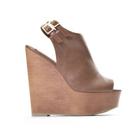 High Profile Wedges In Dark Tan