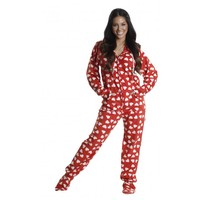 Red Hearts Footed Hooded Adult Pajamas