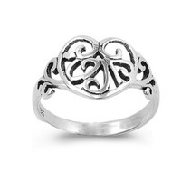 .925 Sterling Silver Infinity Heart Ring  with Filigree Band Size 5-9