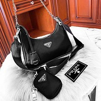 PRADA HOBO Bags High-end Timeless Classic Super Durable Top Leather Lightweight and Fashionable Three Piece Suit