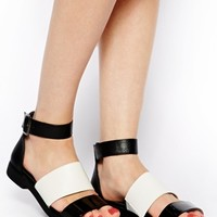 New Look Glide Black Minimal Flat Sandals