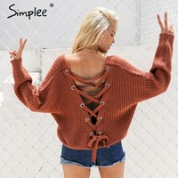 Back Laced Loose Fit Long-Sleeve Pullover Sweater