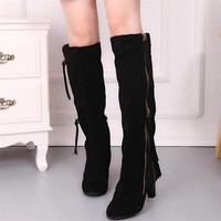 Ladies Women Boots Wedge Buckle Biker Ankle Trim high-heeled Zip Lace Knee-High Boots Shoes Woman botas ug australia mujer