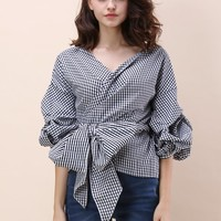 Enchanting Echo Wrapped Top in Gingham