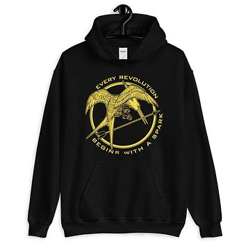 Mockingjay Every Revolution Begins With A Spark Unisex Hoodie