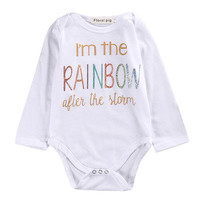 Newborn Infant Baby Boy Girl Cotton Long Sleeve  Romper rainbow Printed Jumpsuit Kids Clothes Outfit