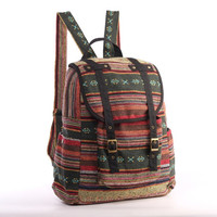 Woven Backpack Ethnic Tribes Rustic Folk Traditional Bag, Organic Cotton Textile Multicolor, College University Book bag (Black Trim)