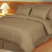 Taupe Damask Stripe Down Alternative 4-pc comforter Set 100% Combed cotton 600 Thread count