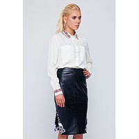 Women's faux leather skirt.