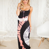 Tie Dye Designed Maxi Dress Coral