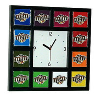 M&Ms candy color wheel promo Clock with 12 pictures MMs