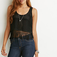 Fringed Window Pane-Patterned Top