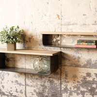 Set Of 2 Metal And Wood Wall Shelves