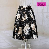 Floral Printed Pleated Maxi Skirt