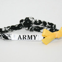 Custom Army Bow Bracelet - Military Support Army, Air Force, Navy, Marines, Soldier Wife, Girlfriend, Fiance