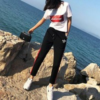 """Adidas"" Women Casual Fashion Letter Sequin Short Sleeve T-shirt Multicolor Trousers Set Two-Piece Sportswear"