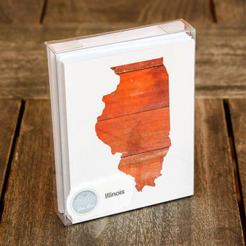 Illinois or any US state shape map cutout wood texture photography blank note cards. Box/12. Die cut, Thank You, Country Chic, Rustic