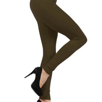 Fleece Lined Leggings in Olive - One-Size