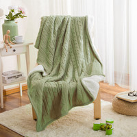 Bedding Luxury Thicken Knitted Winter Double Side Blanket [9595851279]