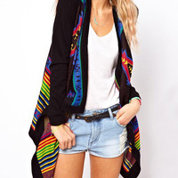 Long Sleeve Colorful Aztec Print Cardigan
